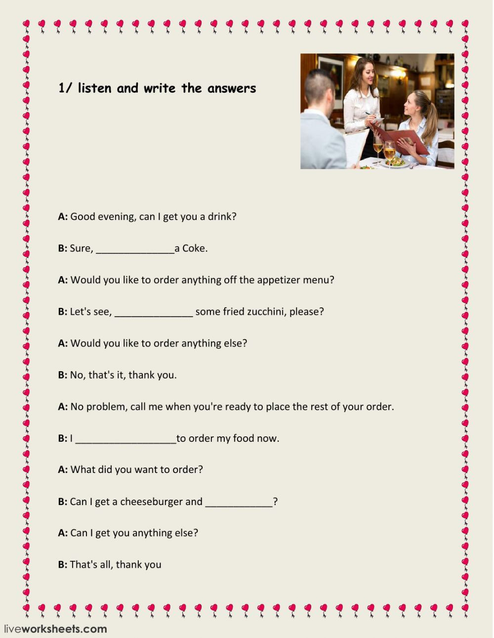 Dialogue Worksheet 5th Grade at the Restaurant Interactive and Able Worksheet