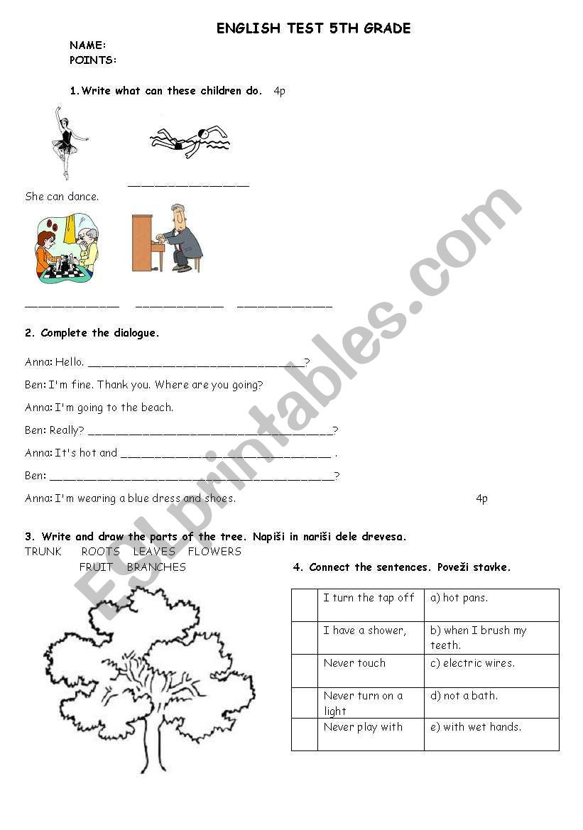 Dialogue Worksheet 5th Grade English Test 5th Grade Esl Worksheet by Matejamotorola