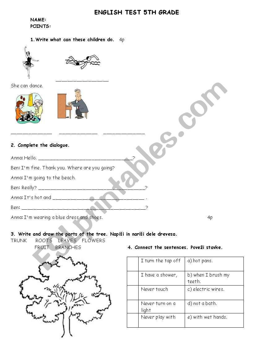 Dialogue Worksheet 5th Grade English Test 5th Grade Esl Worksheet by Matejamotorola