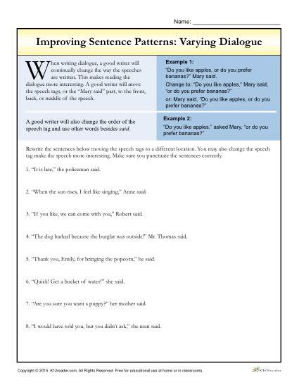Dialogue Worksheet 5th Grade Sentence Patterns Varying Dialogue