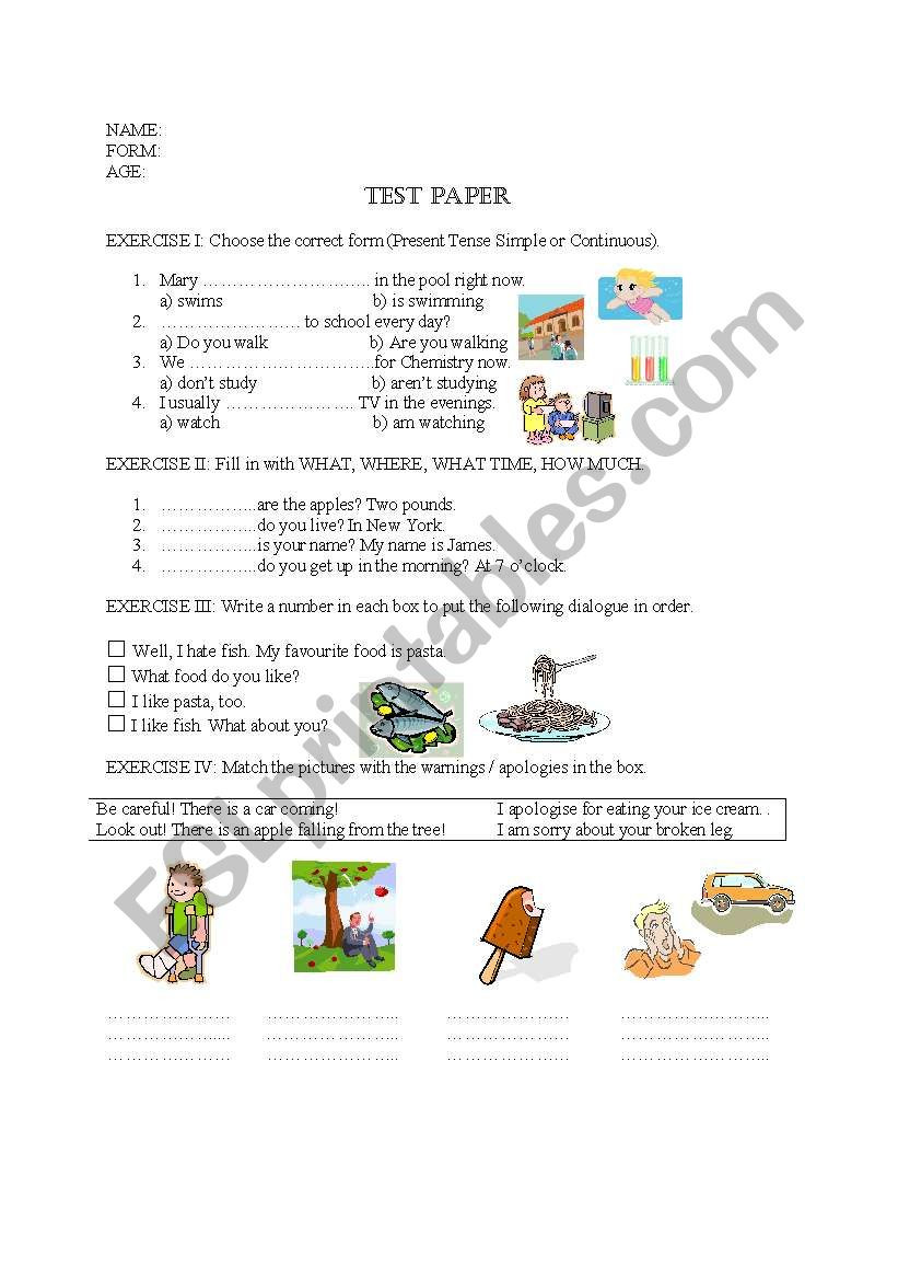 Dialogue Worksheet 5th Grade Test Paper 5th Grade Esl Worksheet by Irina Dumitrascu