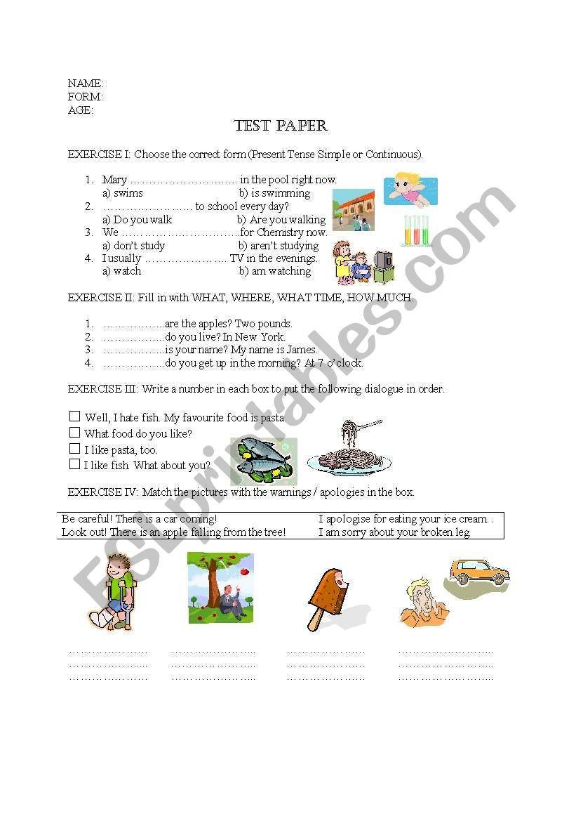 Dialogue Worksheet 5th Grade Test Paper 5th Grade Esl Worksheet by Irina Dumitrascu