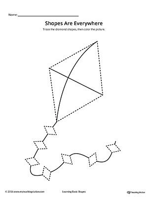 Diamond Worksheets for Preschool Diamond Shape Picture Tracing Worksheet