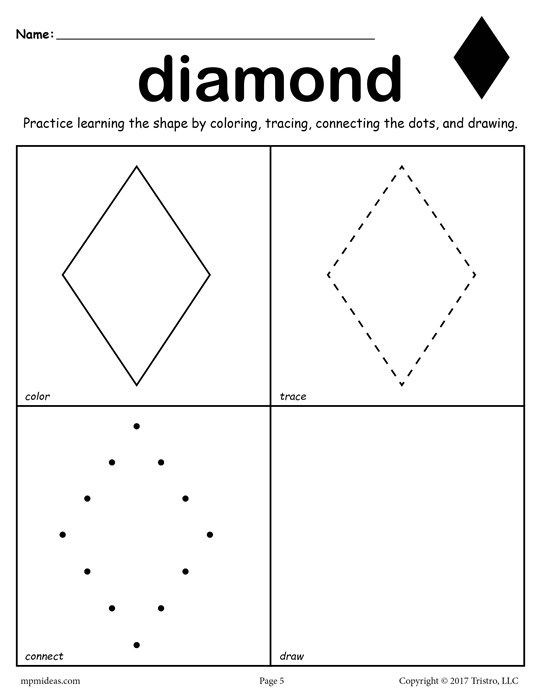 Diamond Worksheets for Preschool Diamond Shape Worksheet Color Trace Connect & Draw