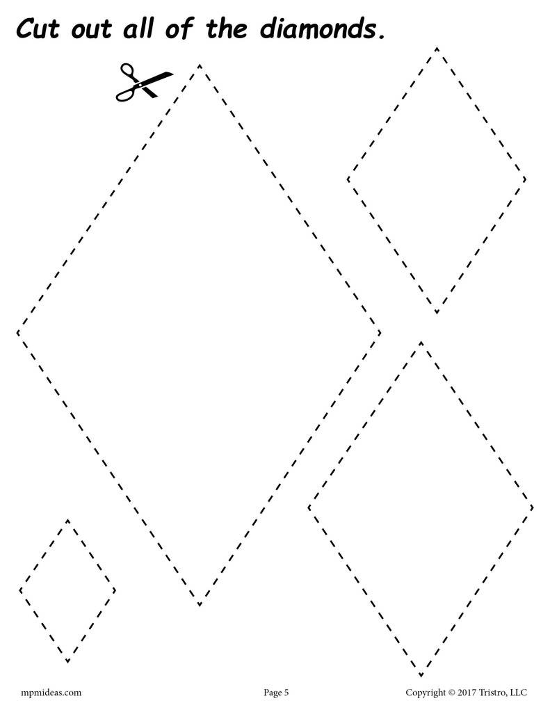 Diamond Worksheets for Preschool Diamonds Cutting Worksheet
