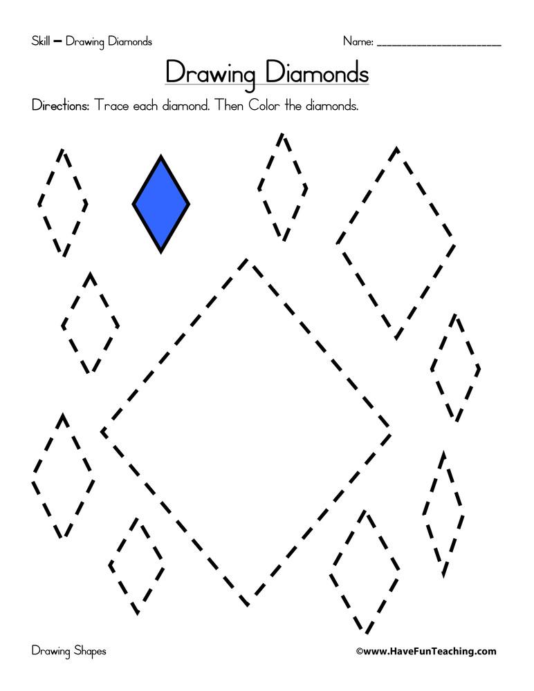 Diamond Worksheets for Preschool Drawing Diamonds Worksheet