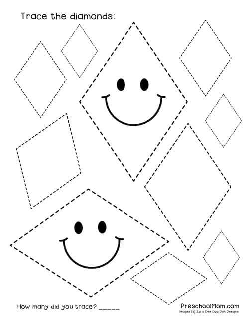 Diamond Worksheets for Preschool Shape Tracing Worksheets Preschool Mom
