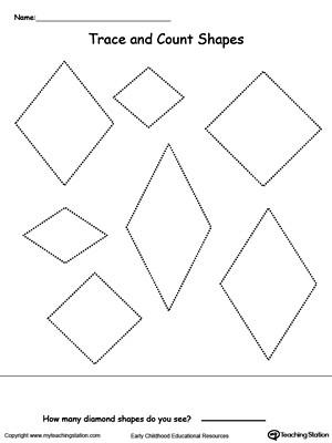 Diamond Worksheets for Preschool Trace and Count Diamond Shapes