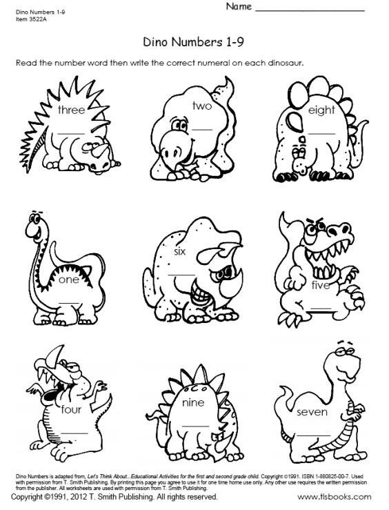 Dinosaur Worksheets for Kindergarten Dinosaur Numbers 1 18