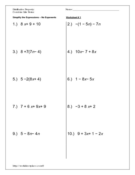 Distributive Property Worksheets 9th Grade Distributive Property Bine Like Terms Worksheet for 8th