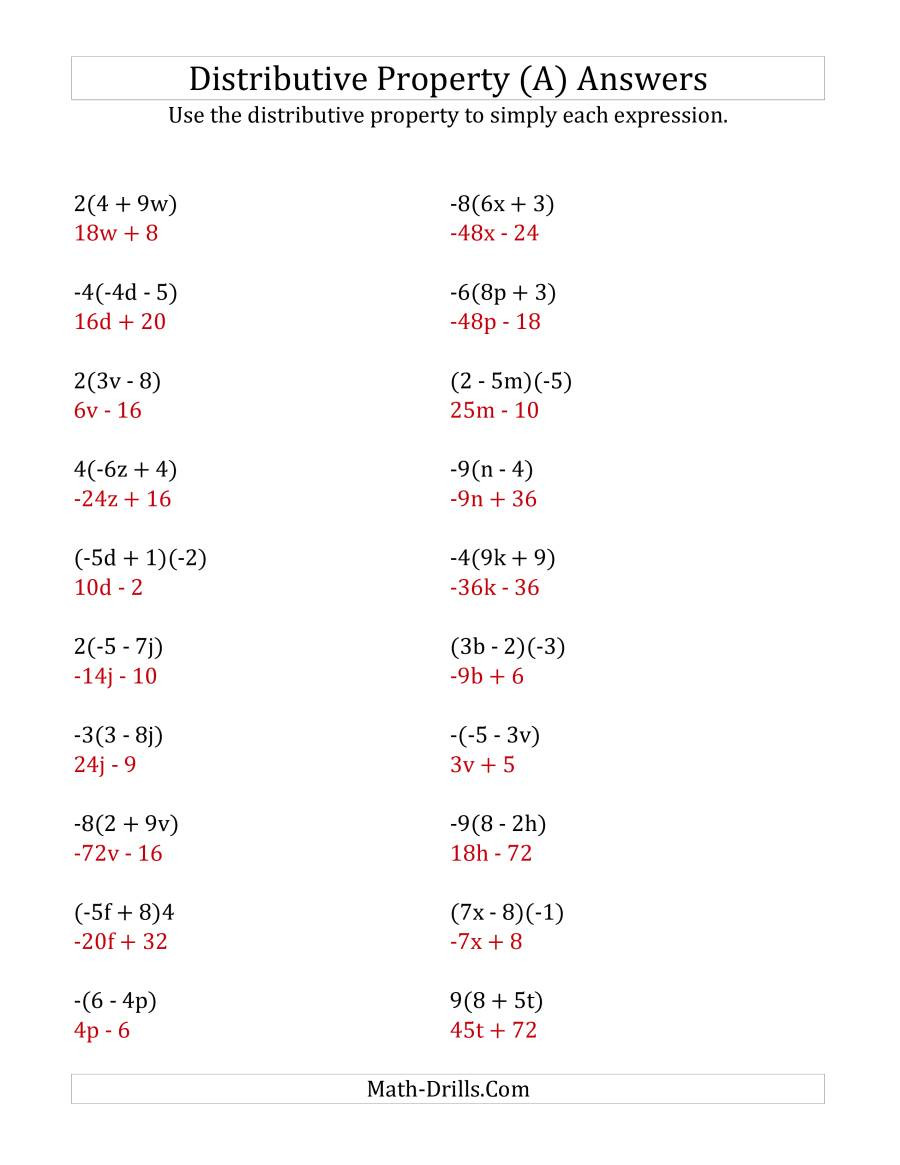 Distributive Property Worksheets 9th Grade Using the Distributive Property Answers Do Not Include