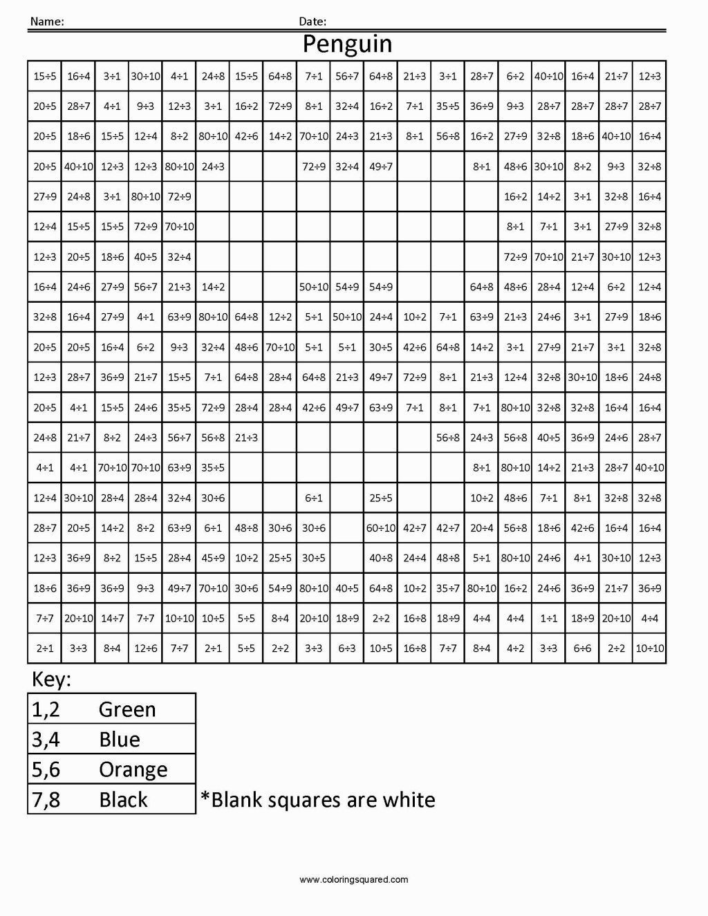 Division Coloring Worksheets Division Coloring Worksheets