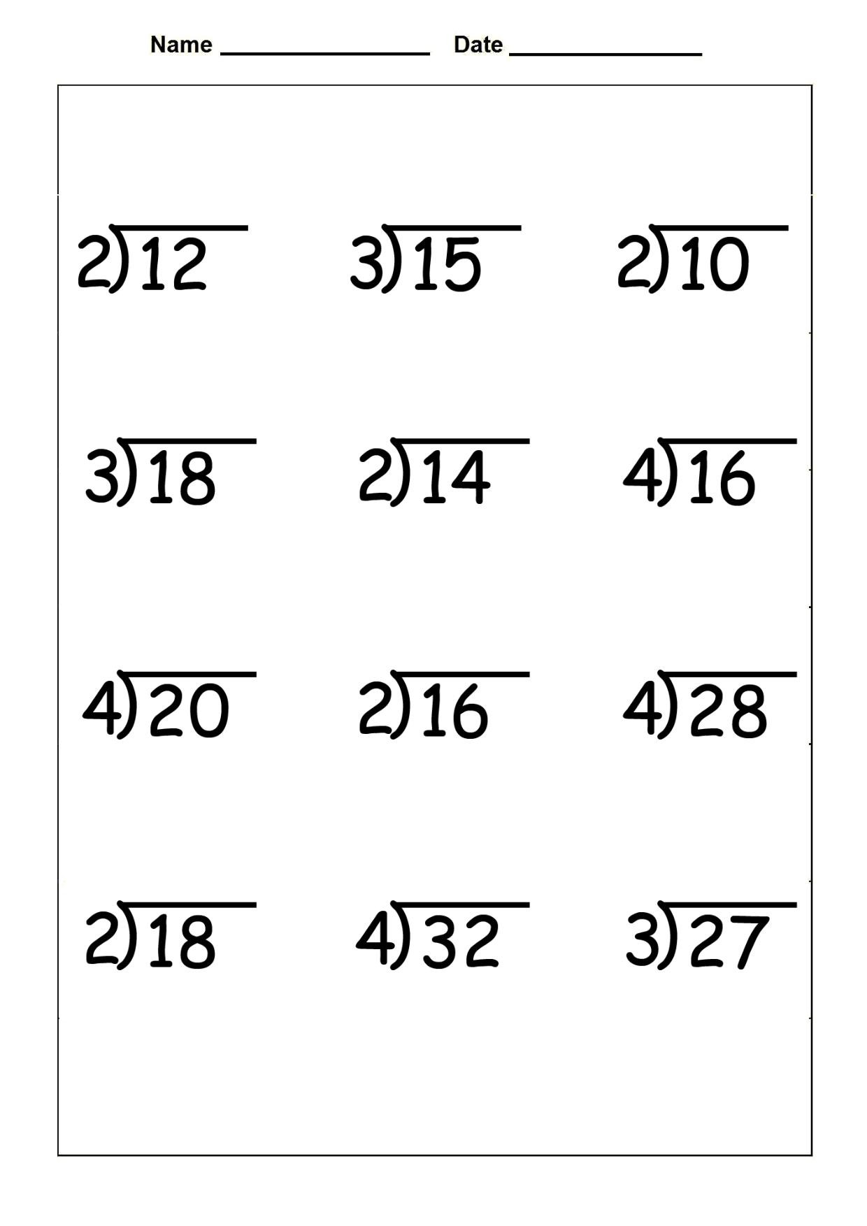Division Worksheets for Grade 2 Division Archives