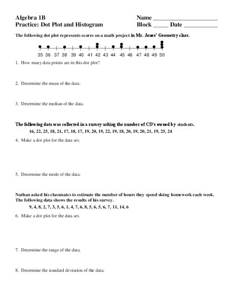 Dot Plot Worksheets 6th Grade Dot Plot Lesson Plans & Worksheets Reviewed by Teachers