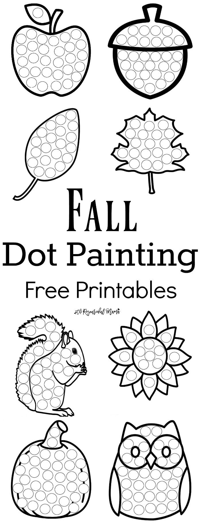 Dot to Dot Art Printables Fall Dot Painting Free Printables the Resourceful Mama