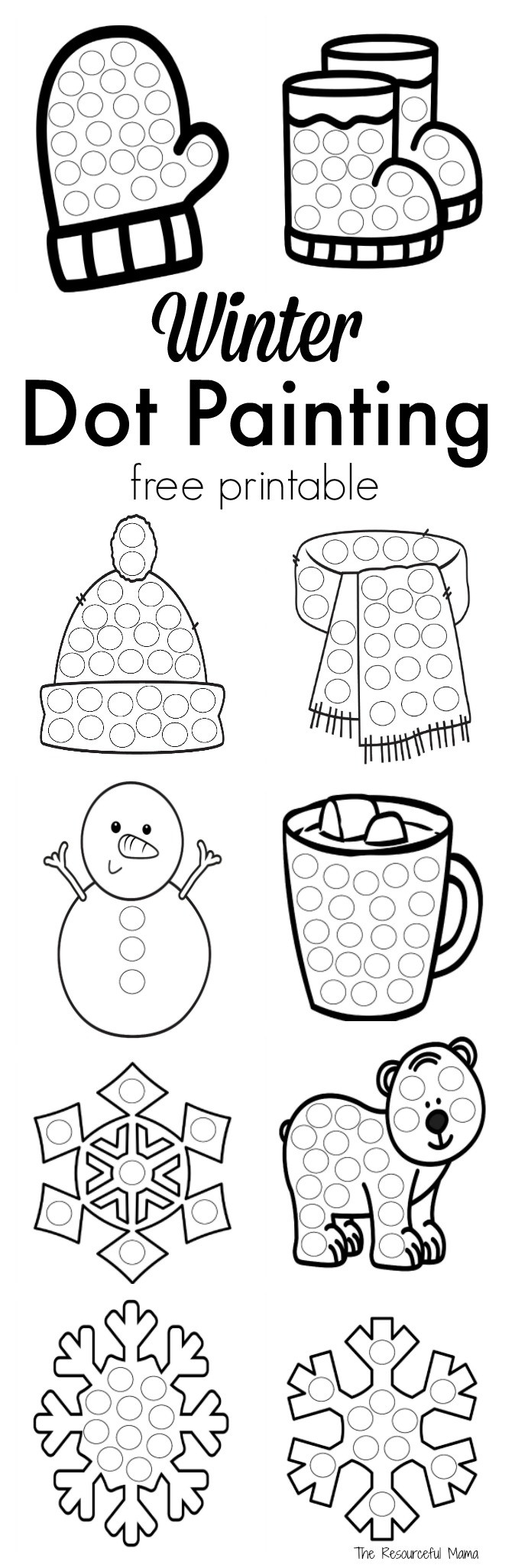 Dot to Dot Art Printables Winter Dot Painting Free Printable the Resourceful Mama