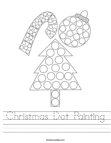 Dot to Dot Christmas Printables Christmas Dot Painting Worksheet Twisty Noodle