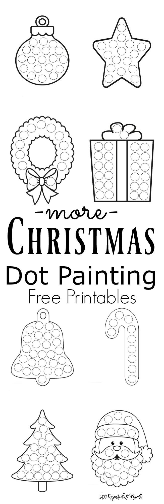 Dot to Dot Christmas Printables More Christmas Dot Painting Free Printables the
