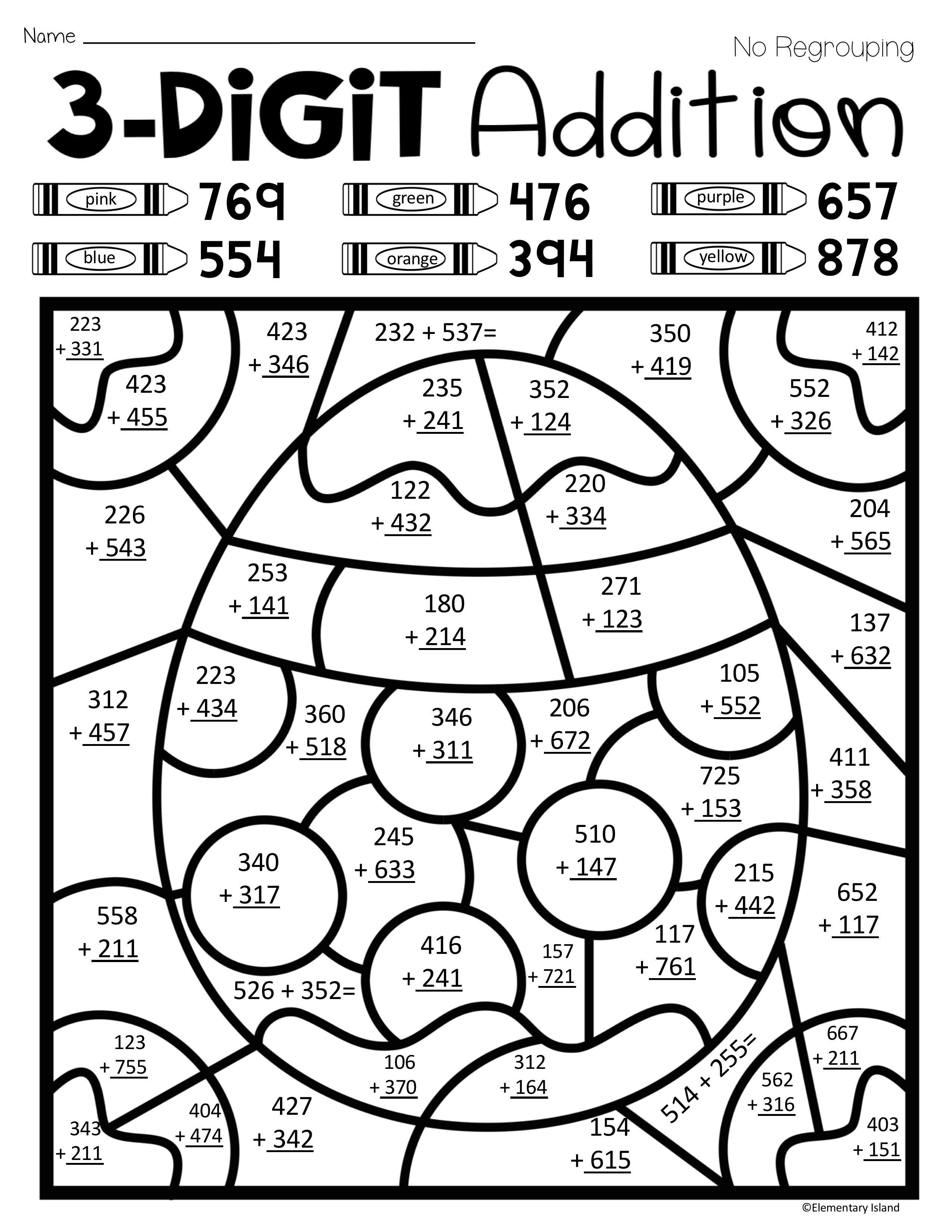 Double Digit Addition Coloring Worksheets Easter Spring Three Digit Addition Color by Number with and