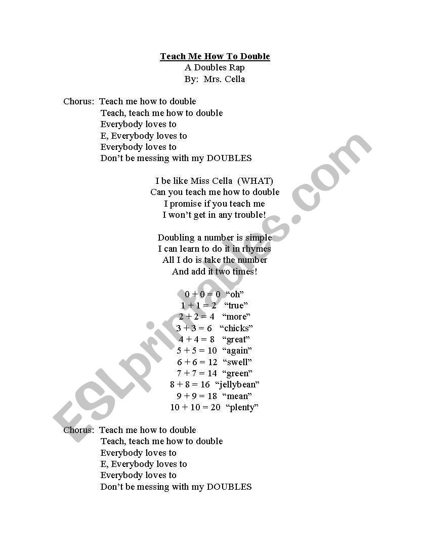 Doubles Rap Printable English Worksheets Doubles Rap