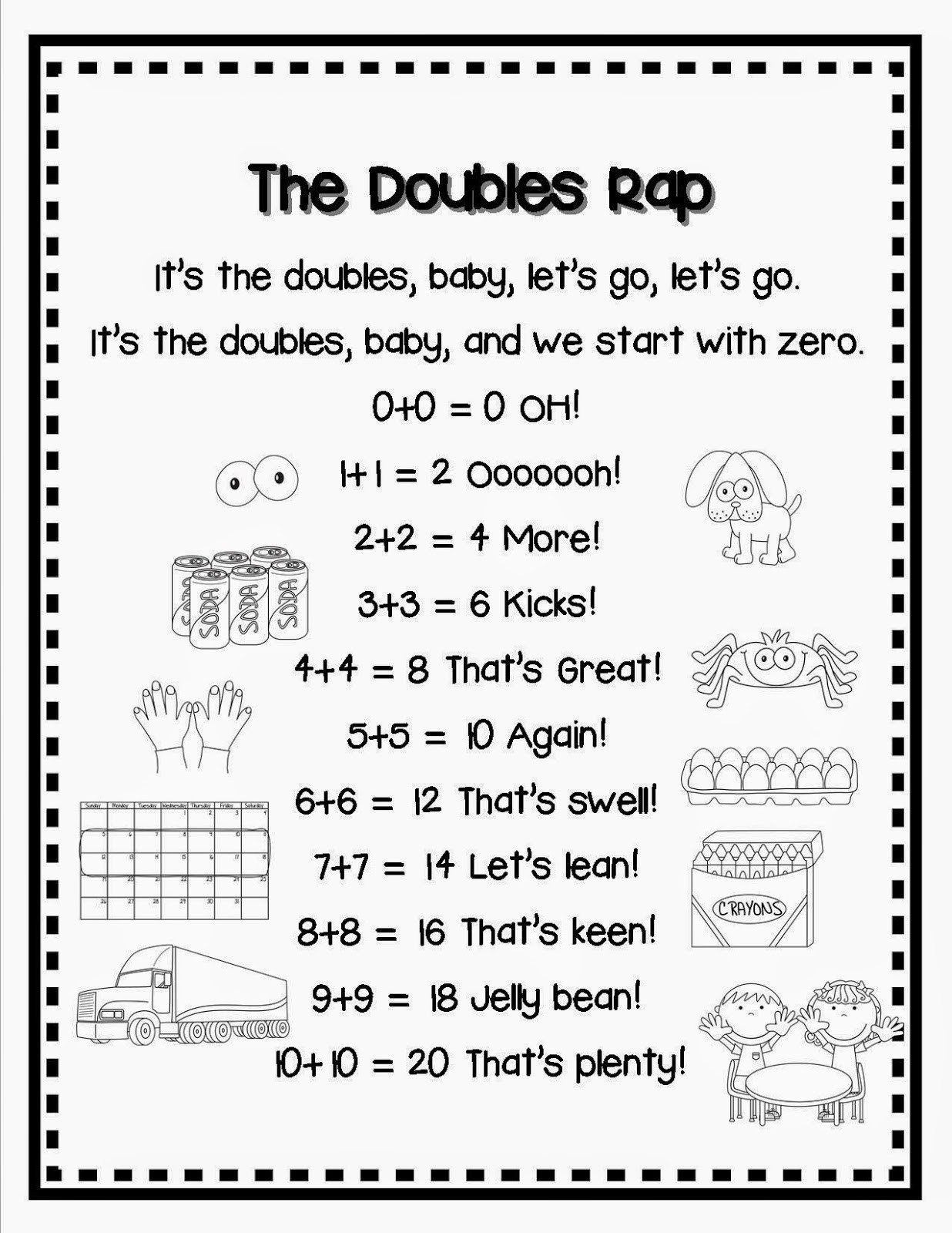 Doubles Rap Printable Lory S 2nd Grade Skills Doubles and Nbt Task Cards and Freebie