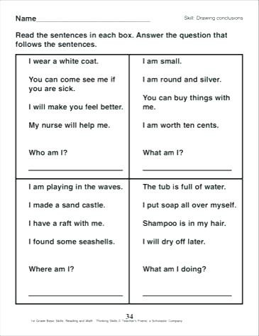 Drawing Conclusions Worksheets 4th Grade Drawing Conclusion Worksheets Drawing Conclusions Worksheets