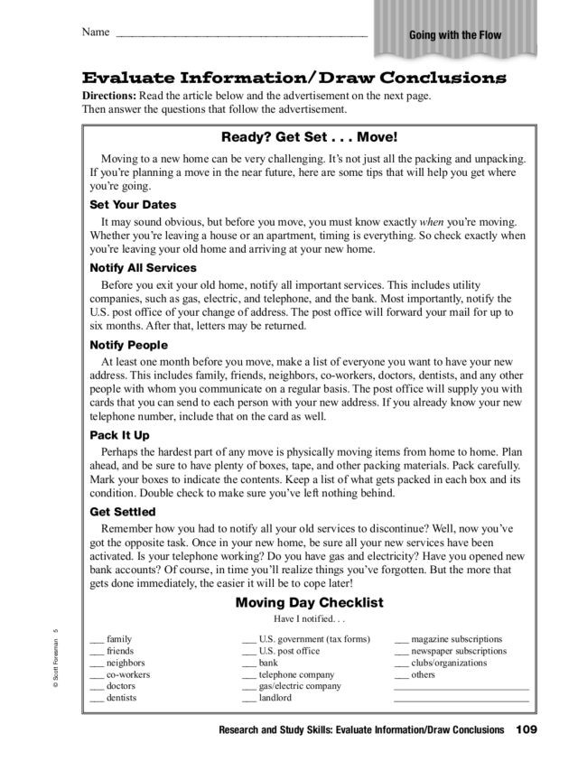 Drawing Conclusions Worksheets 4th Grade Research and Study Skills Evaluate Information Draw