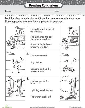 Drawing Conclusions Worksheets 4th Grade Story Prehension Drawing Conclusions