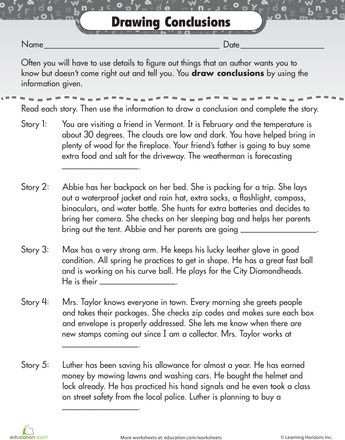Drawing Conclusions Worksheets 4th Grade Worksheets Reading for Prehension Drawing Conclusions