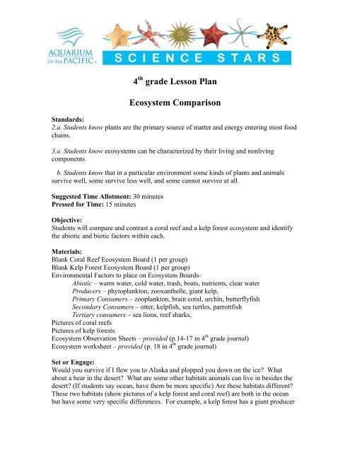 Ecosystem Worksheets 4th Grade 4th Grade Lesson Plan Ecosystem Parison Aquarium Of the