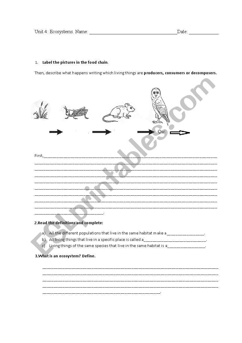 Ecosystem Worksheets 4th Grade Ecosystems Test 4th Grade Esl Worksheet by Almuxx