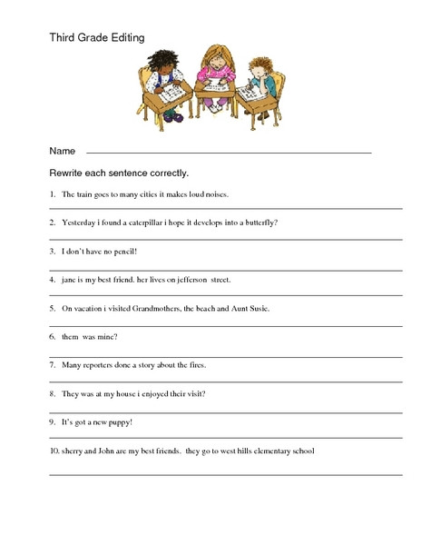 Editing Sentences 3rd Grade Third Grade Editing Sentences Worksheet Worksheet for 3rd