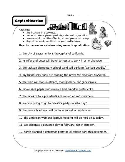 Editing Worksheet 2nd Grade Capitalization