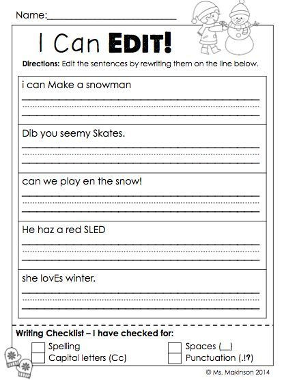Editing Worksheet 2nd Grade January Printables First Grade Literacy and Math