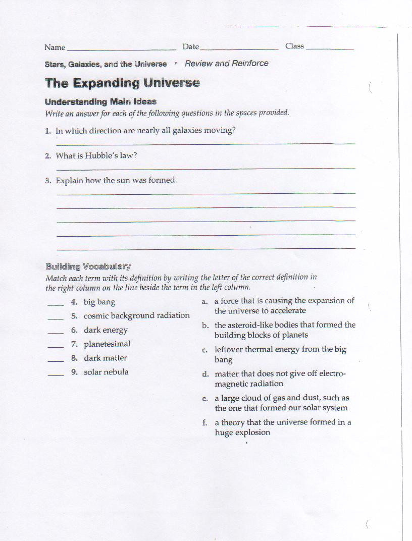 Eighth Grade Science Worksheets Expanding Universe Worksheet