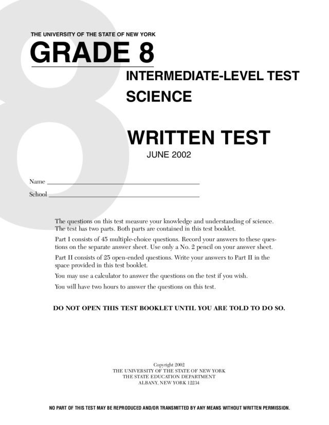 Eighth Grade Science Worksheets Grade 8 Science Written Test Worksheet for 8th Grade