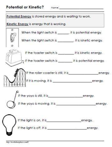 Eighth Grade Science Worksheets Potential or Kinetic Energy Worksheet
