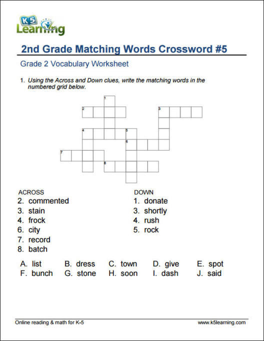 Eighth Grade Vocabulary Worksheets 2nd Grade Vocabulary Worksheets by K5 Learning