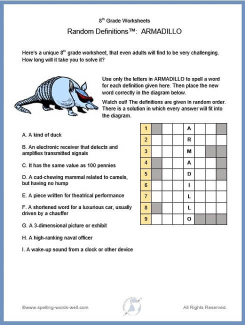 Eighth Grade Vocabulary Worksheets 8th Grade Worksheets for Spelling and Vocab Enrichment
