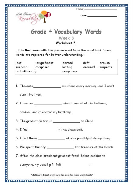 Eighth Grade Vocabulary Worksheets Grade Vocabulary Worksheets Week Lets Knowledge Free