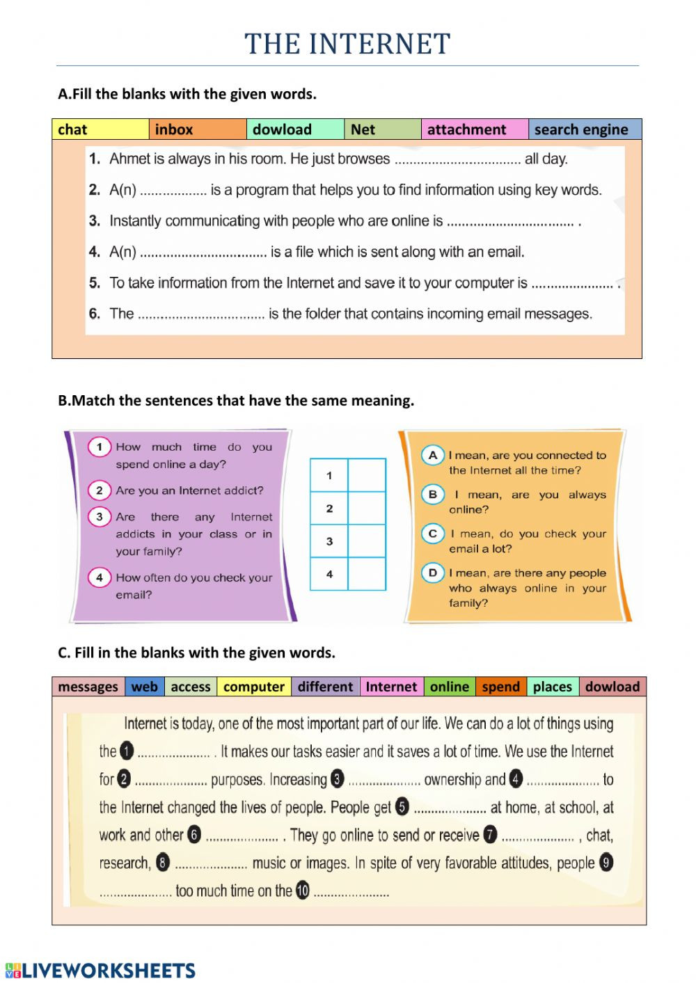 Eighth Grade Vocabulary Worksheets the Internet 8th Grade Vocabulary 2 Interactive Worksheet