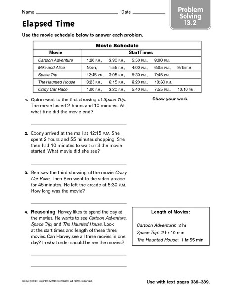 Elapsed Time 3rd Grade Worksheets Elapsed Time Problem solving 13 2 Worksheet for 3rd 5th