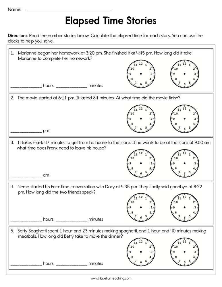 Elapsed Time 3rd Grade Worksheets Elapsed Time Stories Worksheet
