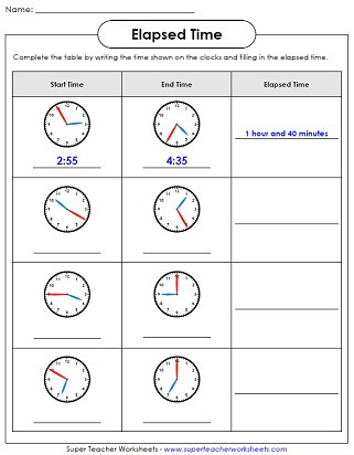 Elapsed Time 3rd Grade Worksheets Elapsed Time Worksheets Math Time Worksheets