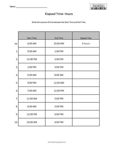 Elapsed Time 3rd Grade Worksheets Elapsed Time Worksheets Teaching Squared