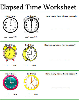 Elapsed Time 3rd Grade Worksheets Time Worksheets Time Worksheets for 2nd Grade