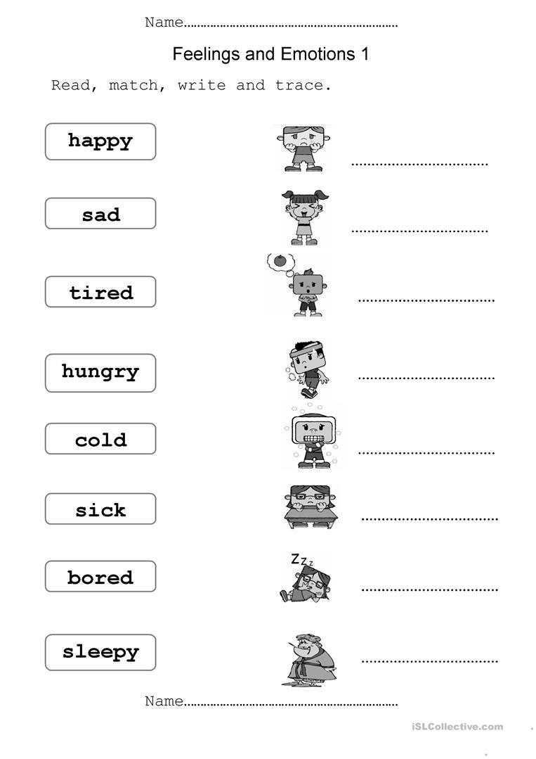 Emotions Worksheets for Preschoolers English Esl Feelings Worksheets Most Ed 351 Results