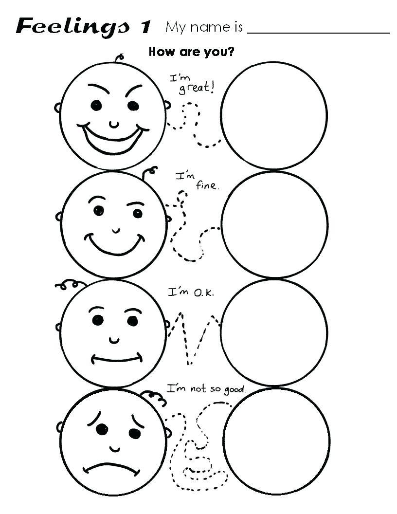 Emotions Worksheets for Preschoolers Preschool Worksheet Feelings Clover Hatunisi