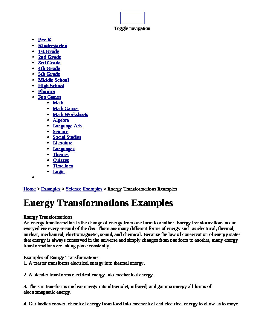 Energy 4th Grade Worksheets Energy Transformations Examples Powerpoint Presentation