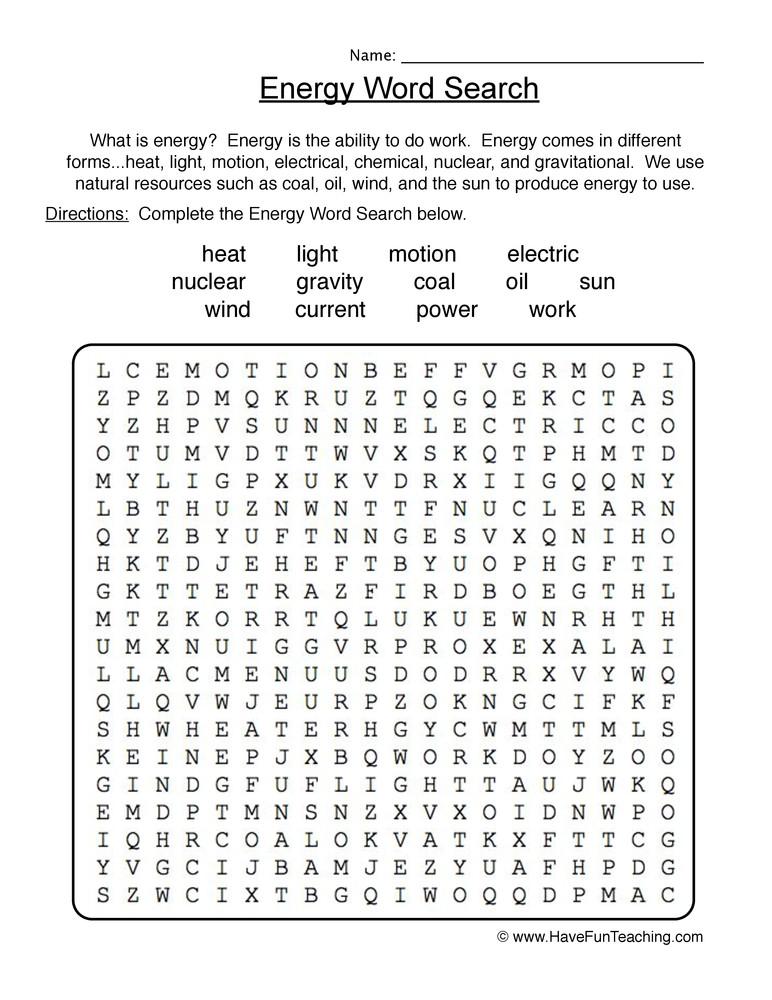 Energy 4th Grade Worksheets Energy Wordsearch Worksheet